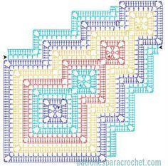30 Ideas for crochet table runner motif Crochet Doily Diagram, Crochet Pillow Pattern, Crochet Stitches Patterns, Doily Patterns, Crochet Chart, Crochet Afghans, Crochet Squares, Crochet Motif, Crochet Doilies