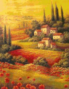 Tuscany Landscape Cross Stitch pattern PDF - Instant Download! by PenumbraCharts on Etsy