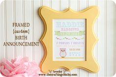 Framed {custom} Birth Announcement Print--a sweet gift idea for baby!   www.thecraftingchicks.com