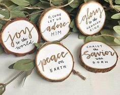 Jesus Wood Slice Ornaments (Set of Peace on Earth, Joy to the World, O come let us Adore Him Wood Ornaments, Diy Christmas Ornaments, Christmas Projects, Holiday Crafts, Holiday Fun, Christmas Decorations, Holiday Decor, Christmas Love, Winter Christmas
