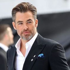 "elektralyte: "" mcavoys: "" Chris Pine attends the UK Premiere of 'Star Trek Beyond' at Empire Leicester Square on July 2016 in London, England. "" That gray! Beard Styles For Men, Hair And Beard Styles, Awesome Beards, Good Looking Men, Haircuts For Men, Bearded Men, Gorgeous Men, Sexy Men, Hot Guys"