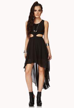 High-Low Chiffon Cutout Dress