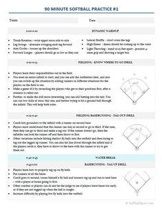 Printable Softball Lineup Card  Free  Softball