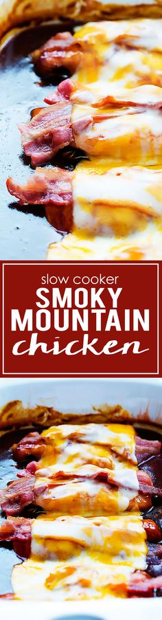 Slow Cooker Smoky Mountain Chicken - just 5 ingredients! | Creme de la Crumb. Keto-fy by using sugar-free barbecue sauce.