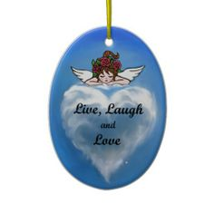 "A delightful little angel is looking down at a cloud in the shape of a heart, it holds a message of Angelic Wisdom ""Live, Laugh and Love! http://www.zazzle.com/AnyStoreName?rf=238984730097791553"