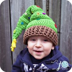 Christmas Tree Elf Hat (sizes newborn - adult) by Christina Ramirez crochet pattern $6.00 on Ravelry at http://www.ravelry.com/patterns/library/christmas-tree-elf-hat