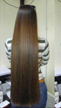 Brunette/Caramel color, super straight, long length. Outstanding look.