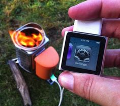 BioLite CampStove generates electricity to charge phones, lights and other electronics while cooking.