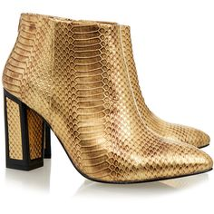 Kat Maconie Stella Gold Snake Ankle Boot (2.095 ARS) ❤ liked on Polyvore featuring shoes, boots, ankle booties, gold, gold ankle boots, ankle boots, black bootie boots, pointed toe ankle boots and black boots