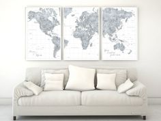 Custom quote - highly detailed world map poster split in 3 panels, grayscale watercolor map with cities. Color combination: Jimmy