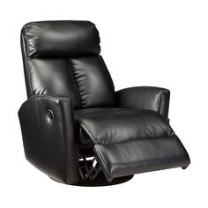 Take a seat on a black faux leather swivel recliner. Balto Swivel Glider Recliner | Weekends Only Furniture and Mattress