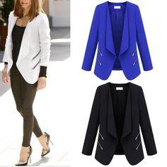 2015 Spring Autumn New Fashion Turn-down Collar Long Sleeve Slim Zipper Women Leisure Suit Jacket Plus Size XL Black White Blue Online with $40.95/Piece on Diamondtech's Store   DHgate.com