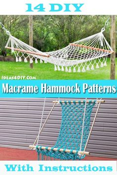 Try making some cool DIY Macrame Hammock Patterns with Instructions! #Macrame #MacrameHammock #MacramePatterns