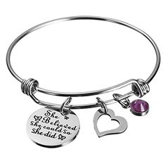 Haoflower She Believed She Could So She Did Inspirational Bracelet Birthstone and Heart Charm Cuff Bangle Birthday Graduation Gifts * We appreciate you for seeing our image. (This is an affiliate link) Mantraband Bracelets, Cuff Bracelets, Bangles, She Believed She Could, Graduation Gifts, Heart Charm, Fashion Bracelets, Birthstones, Charmed