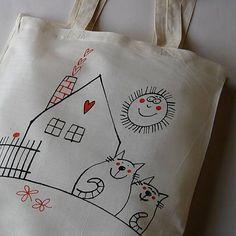 Nákupní taška z bavlněného plátna, kresba z volné ruky. Materiál - kaliko. Výrobek lze prát v pračce při teplotě do 50°C. Doporučuji prát z rubu. Při objednávání, prosím, na... Advent, Patches, Reusable Tote Bags, Sewing, Inspiration, Fabric Dolls, Sacks, Needlework, Syrup