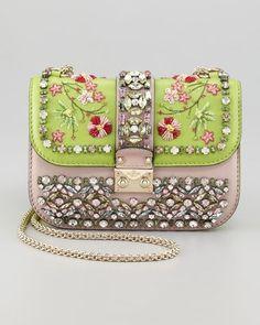 Valentino Glam-Lock embellished Small Flap Bag ~ Colette Le Mason @}-,-;---