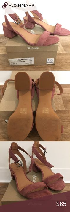 "Madewell Alice Sandal in Autumn Berry Suede (NIB) Alice Sandal in suede, never worn!  Will ship within 1 business day! 2"" heel Suede upper Leather lining Man made sole Madewell Shoes Heels"