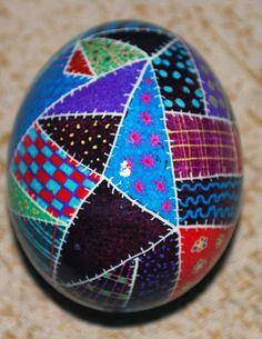 Patchwork Quilt Pattern Pysanky Ukrainian Egg by thewickedwoods, $28.00