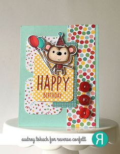 Card by Audrey Tokach for Reverse Confetti March SFYTT. Reverse Confetti stamp sets: Monkey Business and A Whole Lotta Happy. Confetti Cuts: Monkey Business and Pretty Panels HAPPY. Birthday card.