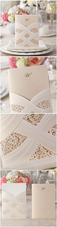 Elegant Foil Stamped Laser Cut Ivory Pocket Wedding Invitations EWWS025