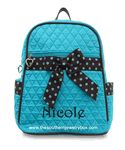 PERSONALIZED QUILTED BACKPACK - Monogrammed Turquoise and Black Dotted Bag