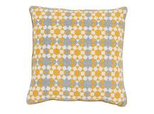 Tesserae 100% Linen Cushion 50 x 50cm, Ash Grey and Gold. Designed by Niki Jones