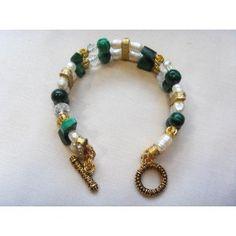Malachite, pearl & crystal bracelet