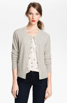 White sweater, black polka dots. Only Mine Polka Dot Cashmere Cardigan in White (ivory/ black dot)