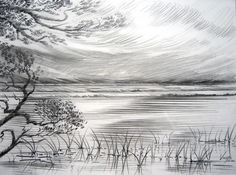 Lakeside Breezes - 25x33cm Pencil drawing. David Voigt, Bungendore Wood Works Gallery 2012