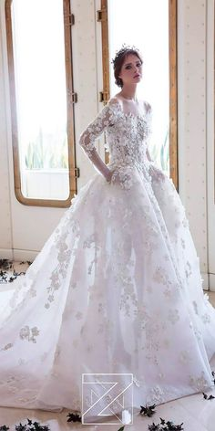 18 Princess Wedding Dresses For Fairy Tale Celebration ❤️ lace ball gown floral high neck long sleeves princess wedding dresses ziad nakad ❤️ Full gallery: https://weddingdressesguide.com/princess-wedding-dresses/ #bride #wedding #bridalgown