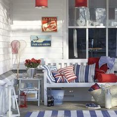 these coastal homes really encompass the american spirit with their red white and blue decor and accents