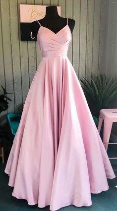 Elegant A-Line Pink Long Prom Dress - Oriel D. Elegant A-Line Pink Long Prom Dress - kleider Prom Dresses Long Pink, Senior Prom Dresses, Straps Prom Dresses, Pretty Prom Dresses, Pink Party Dresses, Simple Prom Dress, Prom Outfits, Long Prom Gowns, Ball Dresses