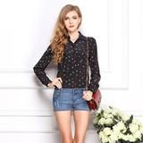 New Arrive Printed Anchors Pattern Temperament Long Sleeved Female Shirt Casual Chiffon Blouse-Women's Blouses-Enso Store-Black-L-Enso Store