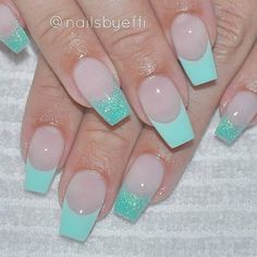 beauty, fashion, french nail, glitter, green, nails, summer, gel nail
