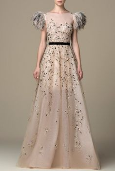 SK by Saiid Kobeisy Gilded Beige Full Illusion Embroidered Gown SK 38 Best Wedding Dresses, Designer Wedding Dresses, Beautiful Gowns, Beautiful Outfits, Evening Dresses, Prom Dresses, Long Dresses, Nice Dresses, Dresses With Sleeves