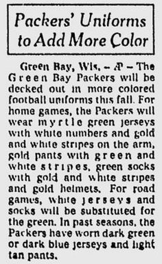July 17, 1959 the Packers announce new uniforms...the Green & Gold. #packers #nfl #vintage