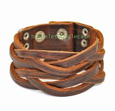 Brown leather bracelet with leather woven cuff etsy.com
