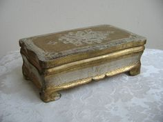 Vintage Florentine Box Gold Gilt White Wood by vintagenowandthen