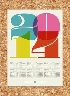 2014 calendar print poster Mid Century Modern vintage by yumalum