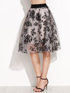 Falda de organza con estampado fabuco cinturón elástica -Spanish SheIn(Sheinside)