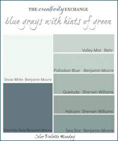 Printable collection of blue grays with hints of green {Color Palette Monday} The Creativity Exchange