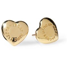 Marc by Marc Jacobs Domed Logo Heart Stud ($48) ❤ liked on Polyvore