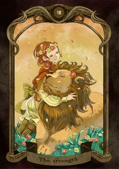 The Force. Arcanum 11 of the Tarot. Our inner strength should not be suppressed or less leaked uncontrollably. The internal Lion n. Strength Tarot, Inner Strength, Leg Art, Leo Lion, Major Arcana, Tarot Decks, Tarot Cards, Lions, Fantasy Art
