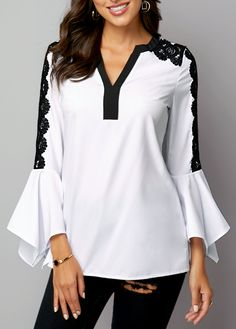 Stylish Tops For Girls, Trendy Tops, Trendy Fashion Tops, Trendy Tops For Women Business Casual Outfits For Women, Trendy Clothes For Women, Blouses For Women, Blouse Styles, Chic Outfits, Shirt Blouses, Buy Cheap, Fashion, Bell Sleeves