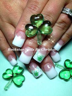 #rockstar_nails_by_christee #stpattysday #nails #shamrocks Gel Nail Designs, Paint Designs, Nails Design, Acrylics, Acrylic Nails, St Patricks Day Nails, Encapsulated Nails, Nail Time, Green Nails