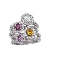 Stack-able multicolor diamond rings. Available at www.yanina-co.com, 800-780-3433.