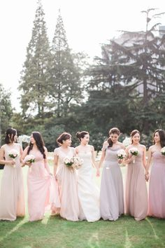 Blush mix and match bridesmaid dresses: http://www.stylemepretty.com/destination-weddings/2016/06/28/see-how-this-couple-brought-the-french-glamour-to-shanghai/ | Photography: Jada Poon Photography - http://www.jadapoonphotography.com/