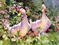 trevor waugh art | Trevor Waugh - Ducks in Flowers I