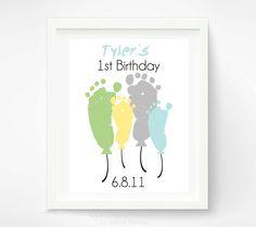 Babys First Birthday Footprint Art Print