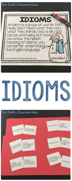 Children LOVE idioms. You can add a little fun to your classroom lesson plans with these task cards, center game and writing center based on 30 common idioms. Make a class book, make copies and they can all take it home for the summer and read what their friends wrote! Students love to feel like a published author! #FernSmithsClassroomIdeas